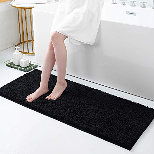 Smiry Luxury Chenille Bath Rug, Extra Soft and Absorbent Shaggy Bathroom Mat Rugs, Machine Washable, Non-Slip Plush Carpet Runner for Tub, Shower, and Bath Room(17''x47'', Black)