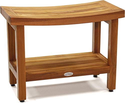 AquaTeak Patented 24' Sumba Teak Shower Bench with Shelf