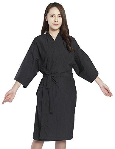 Bata de peluquería para cliente estilo kimono, Capa para peluquería - 109cm de largo (Negro)