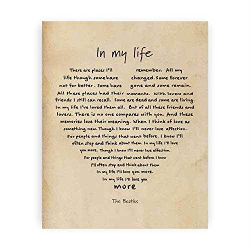 The Beatles' In My Life' Song Lyrics Wall Art- 8 x 10' Word Art Print-Ready to Frame. Vintage Home-Office-Studio-School-Cave Music Décor. Perfect Gift for Musicians, Beatles Fans & Inspiration.
