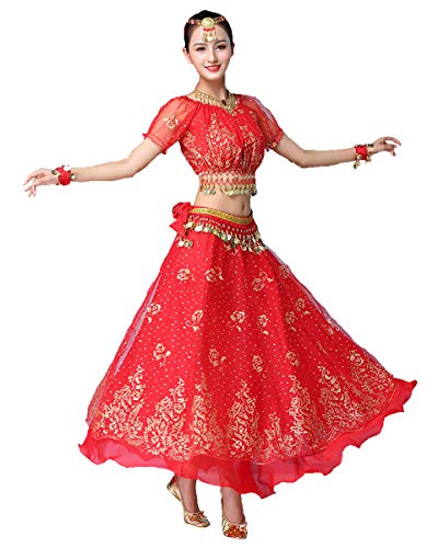Grouptap Bollywood Rot Indian Womens Damen Phantasie Anarkali Salwar Kameez Kleid arabische Prinzessin Bauchtanz Rock Outfits Kostüm (Rot, 150-170 cm, 45-70 kg)