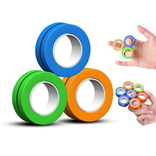 Magni Rings Anello da Dito Magnetico Giocattolo Antistress Anello con Braccialetto Magnetico Anello da Decomprimere Giocattolo Anello Magico Giocattoli di Decompressione- (Alimentato da FinGears)