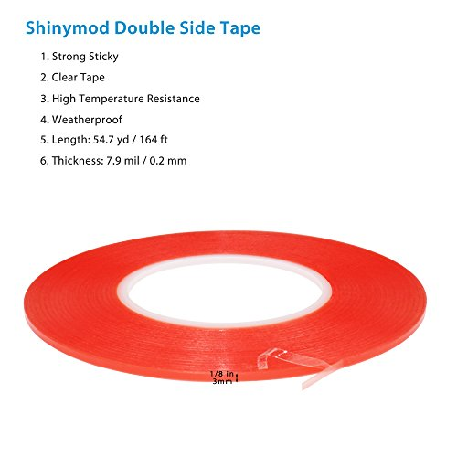 PET Acrylic Double Sided Adhesive Sticker Tape, Atemto 7.9mil X 1/8inch X 164ft Clear Two Sides Tape Weatherproof Heavy Duty Heat Resistance Glue Ultra Strength Industrial Outdoor Tape