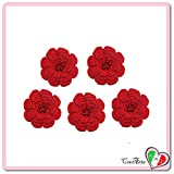 Lot de 5 fleurs rouges pur diverses applications en coton au crochet - Dimensions: ø 5.5 cm - Handmade - ITALY