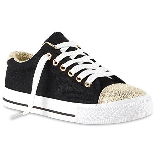 stiefelparadies Sportliche Damen Sneakers Low Freizeit Turn Schuhe 111409 Schwarz Gold 36 Flandell