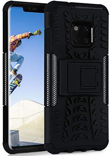 ONEFLOW Tank Case kompatibel mit Huawei Mate 20 Pro - Hülle Outdoor stoßfest, Handyhülle mit Ständer, Kamera- und Bildschirmschutz, Handy Hardcase Panzerhülle, Obsidian - Schwarz