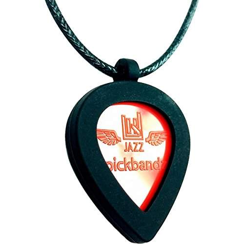 Jazz Guitar Pick Necklace Holder By Pickbandz in Epic Black Includes a Limited Edition Jazz Pick