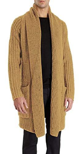 Pengfei Mens Cardigan Sweaters Open Front Chunky Knit Shawl Collar Long Sleeve Jacket Coat Khaki