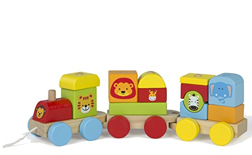 WOOMAX - Tren de madera Animales de - 16 piezas (ColorBaby 43608) , color/modelo surtido