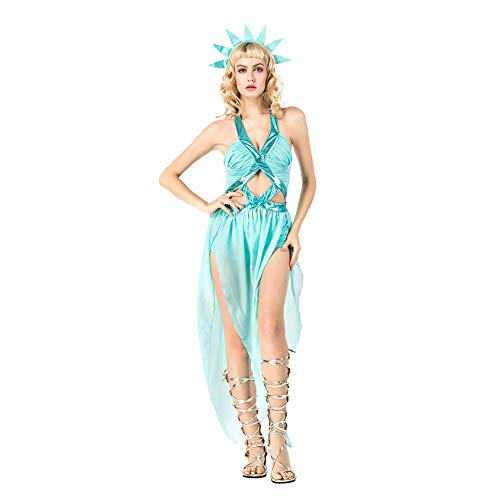 OLKWG Statue of Liberty Kostüm Halloween Göttin Kostüm Ancient Greek Goddess Kostüm Adult Make-up