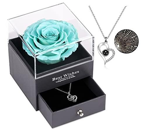 Echte Rose mit Liebe Sie Halskette Geschenk für sie, Rosenblume zum Valentinstag Muttertag Jubiläum Geburtstagsgeschenk für Frauen, Freundin, Frau, Mutter (T Blau)