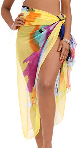 MissShorthair Womens Chiffon Beach Pareos Sarong Sheer Swimsuit Cover Ups Bikini Wrap Skirt