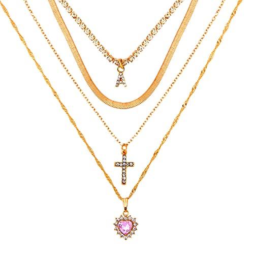 Collar de Mujer Multicapa de Moda con Iniciales Brillantes, Colgantes Cruzados con Letras, Collares de Tenis, corazón de Cristal, Cadena Larga, joyería Dorada