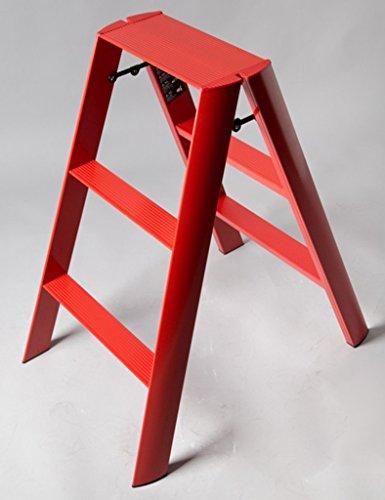 TLMY Taburete plegable de 3 peldaños, de aleación de aluminio grueso, portátil, para el hogar, multifunción, escalera de seguridad, 54 x 75 x 80 cm, color rojo