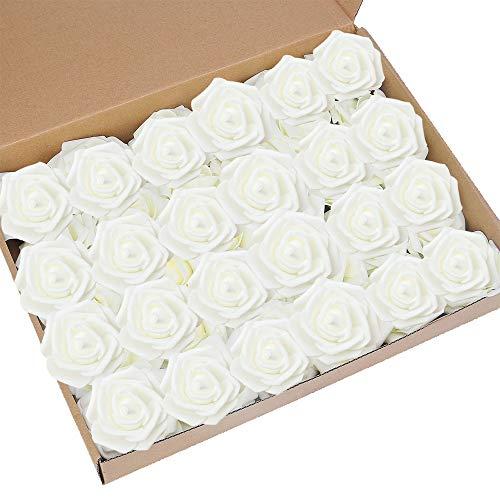 Künstliche Rosen, Elfenbeinfarben, fühlen sich an wie echte Rosen, für selbstgesteckte Blumensträuße zur Hochzeit, Party, Babyparty und Heimdekor, 60 Stück