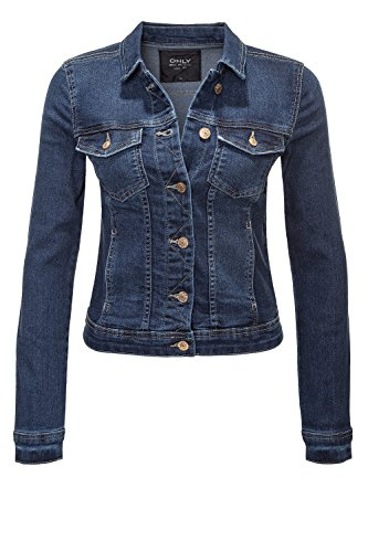 ONLY Damen Jeansjacke Übergangsjacke Leichte Jacke Denim Casual GE LESTA- Gr. S (36), Dark Blue Denim