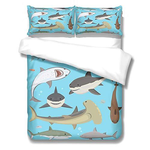 PPYFLFT Adulto Juego De Funda Nórdica Animal Tiburón Mar Funda Nórdica De 3 Piezas Conjunto De Edredón King 3D Edredón De Edredón Niñas Microfibra Ultra Suave 200 cm X 200 cm