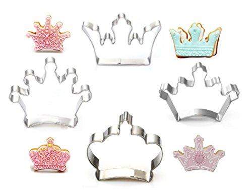 Cortador de galletas, 4 piezas, corona King Queen Prince formas de princesa, acero inoxidable, cortador de galletas