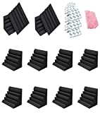 Ueemph 12 Pack Black Bass Traps Corner Studio Foam,12' X 7' X 7',with 3M Tapes and Cleaning Cloth, SoundProofing Padding Panels Noise Dampening Wall Corner Block Finish for Studios Home and Theater