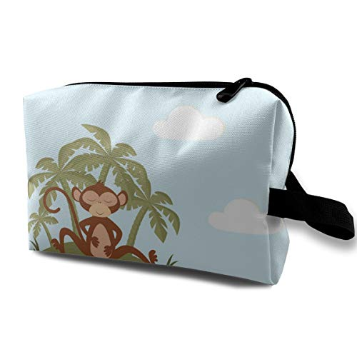 Pattern with Monkey on Blue Cosmetic Beauty Bag Cosmetic Makeup Bag Waterproof Women Girl