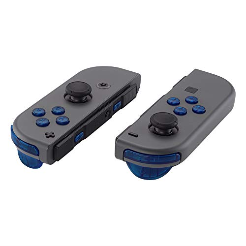 eXtremeRate Transparent Blue Replacement ABXY Direction Keys SR SL L R ZR ZL Trigger Buttons Springs, Full Set Buttons Repair Kits with Tools for Nintendo Switch Joy-Con JoyCon Shell NOT Included