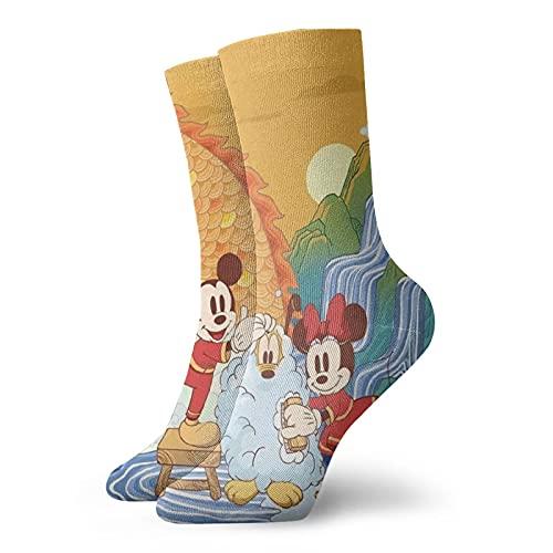Mickey Cartoon Minnie Mouse Calcetines casuales y de moda, súper suaves y cómodos calcetines transpirables de algodón