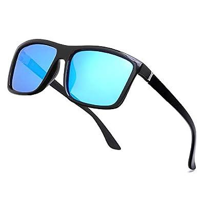 NIEEPA Men's Driving Sports Polarized Sunglasses Square Plastic Frame Glasses (Blue Silver Lens/Bright Black Frame)