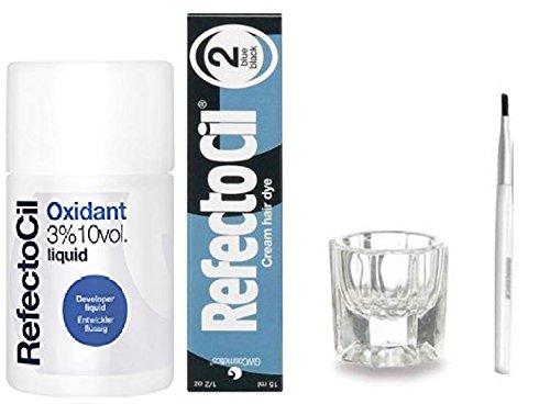 REFECTOCIL COLOR KIT- Blue Black Cream Hair Dye 1/2oz + Liquid Oxidant 3% 3.38oz + Mixing Brush +  Mixing Dish
