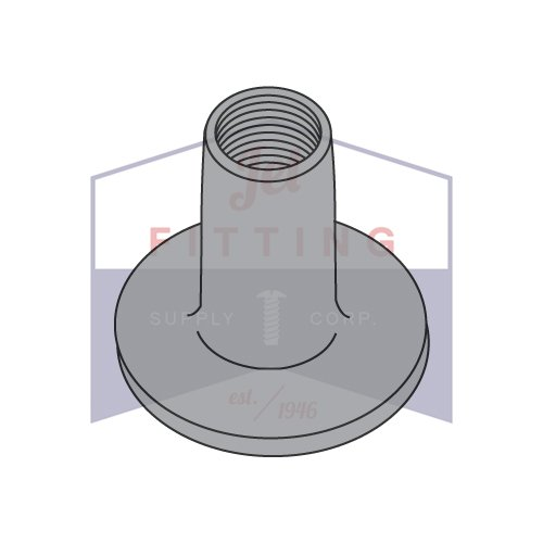 10-24 Round Base Weld Nuts/No Projections/Steel/Plain / 9/32