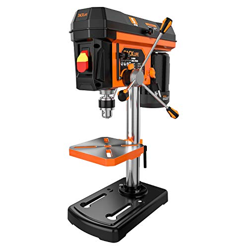 TACKLIFE 8'' Drill Press 5-Speed Benchtop Drill Press with 1/2'' Drill Press Chuck Tilt Table Heavy Cast Iron Base Chuck Key Wrenches for Steel Plate Board Channel Iron Accurate Drilling TKDP01A