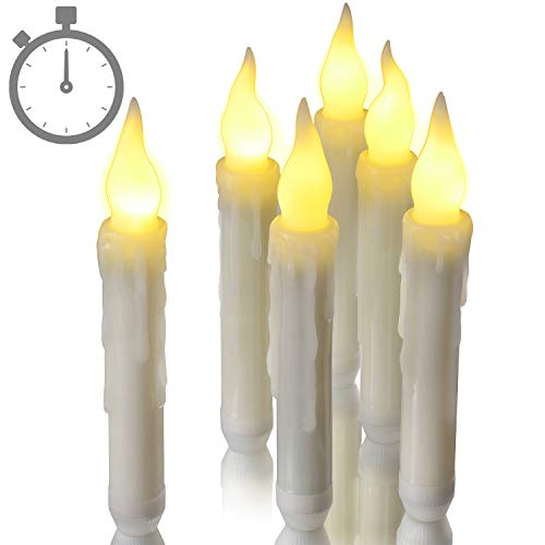 Taper Candles with 6 Hours Timer, Ymenow 6pcs Battery Operated LED Flameless Flickering Window Candle Lights for Wedding Birthday Holiday Festivals Parties Home Table Decor - Warm White