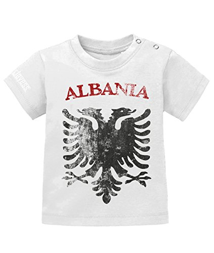 Jayess WM 2018 - Albania Albanien Vintage Look - Baby T-Shirt in Weiss by Gr. 80/86