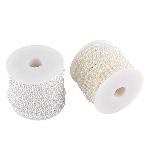 slinger met parels, 25 m/rol Double Cotton Line imitatie halfronde parels ketting slinger voor bruiloft, Kerstmis parels, podiumdecoratie, enz. (Beige)