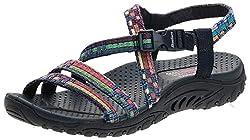 professional Skechers Reggae Sandals for Women Sew Me、Navy Multi 1、8 US
