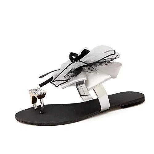 Zapatillas Mujer Moda Mujer Sandalias Zapatos de gelatina Plana Arco Chanclas Zapatos de Playa con Tachuelas Remaches de Verano Zapatillas Zapatos Mujer-Gris_40