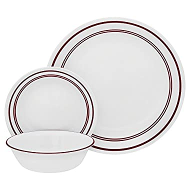 Corelle 18 Piece Classic Cafe Red  Livingware Dinnerware Set, White