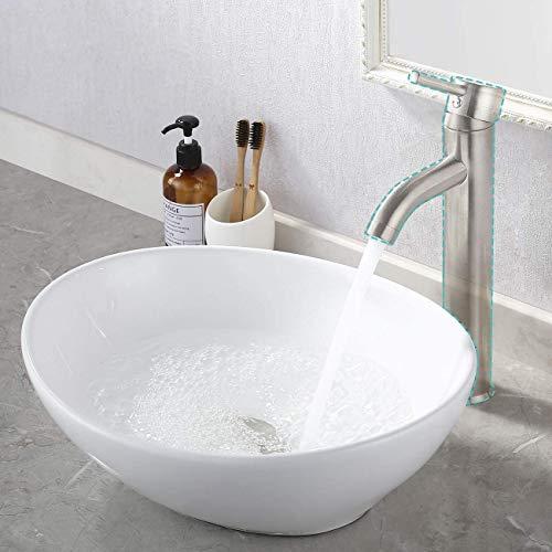 KES Lavabos Sobre Encimera Baño Ovalado Blanco 42,5 x 34 x
