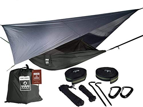 Oak Creek Camping Hammock and Accessories. Complete Package Includes Mosquito Net, Rain Fly, Tree Straps and Portable Lightweight Compression Sack. Weighs Only 4 Pounds. (Carbon Gray)
