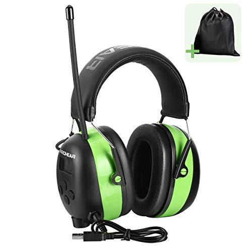 PROHEAR Gehörschutz mit Bluetooth, FM/AM Radio Wiederaufbare Ohrenschützer, Eingebautem Mikrofon und Lärmreduzierung für lärmintensive Freizeitaktivitäten SNR30dB (Grün)