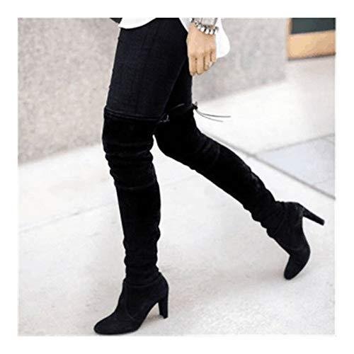 Botas de Mujer Botas sobre la Rodilla con Cordones Zapatos de tacón Alto Sexy Mujer Botas Altas de Mujer Botas 35-43 (Color : Black, Shoe Size : 37)