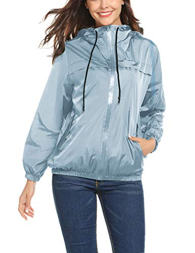 LOMON Women's Outdoor Short Waterproof Lightweight Raincoat with Pockets for Climbing & Cycling (Light Blue-XL)