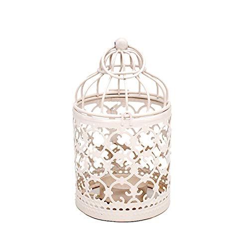 LCISCOUP Candelero Blanco Hollow Soporte Candlestick Tealight Colgante Linterna Jaula de pájaros Vintage Retro Retro Candlestick Linterna Decoración de Fiesta (Color : A)