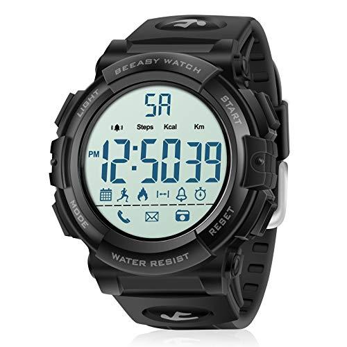 Orologio sportivo digitale da uomo, 5ATM Orologio da surf da nuoto impermeabile, militare per uomo Ragazzi con contapassi conta calorie Cronometro Allarme Bluetooth SMS Notifica chiamata, nero
