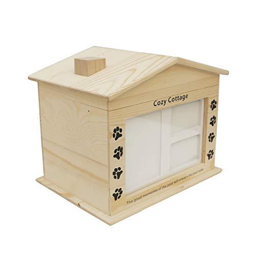 Cozy CottageHecho a Mano Madera urna de cremación para mascotas, Perros Gato Mascotas Ataúd Conmemorativo Urna de Incineración Cenizas de Urnas Funerarias Frasco para Foto Pet Memorial (color : A)