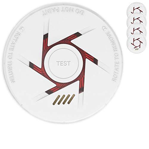Rauchmelder 4er Set mit 10 Jahre Garantie inkl. 4X 9V Batterie geprüft nach DIN EN14604 und BSI Zertifiziert - 4 Stück Rauchwarnmelder Feuermelder Brandmelder Feueralarm