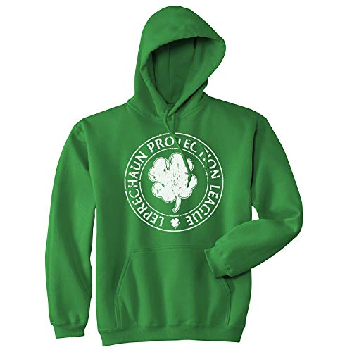 Crazy Dog Tshirts - Leprechaun Protection League Hoodie Funny Saint Patricks Day Irish Shirt (Green) - M - Homme