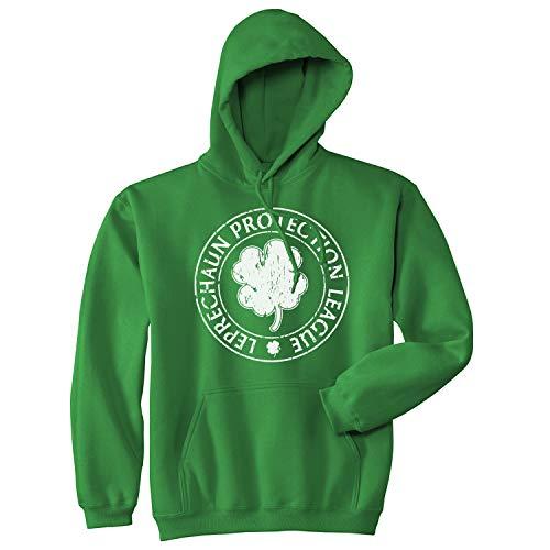 Crazy Dog Tshirts - Leprechaun Protection League Hoodie Funny Saint Patricks Day Irish Shirt (Green) - M - Homme