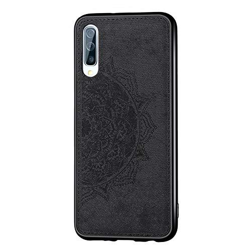 Lavender1 - Funda para Samsung Galaxy A70, diseño de mandala con flores en relieve, patrón de mariposa, resistente a los golpes, funda de silicona fina de 360 grados Negro 42