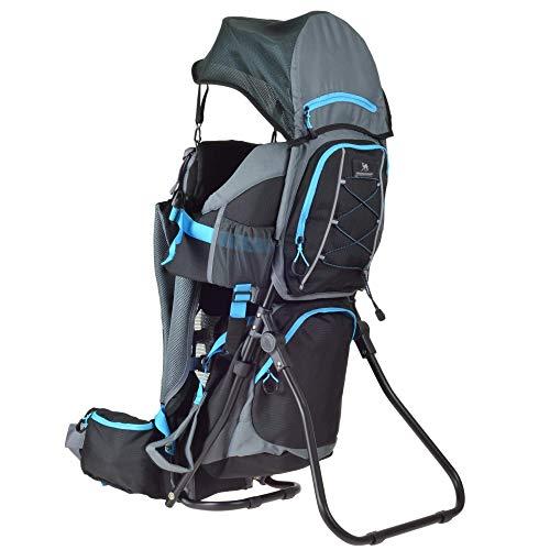 DROMADER Mochila Portabebé para Hacer Turismo Wombat   Peso del Bebé hasta 22 kg   Sistema de Transporte 3D Opti-fit   Espejo Lateral   Protección contra el Sol y la Lluvia   Negro & Azul