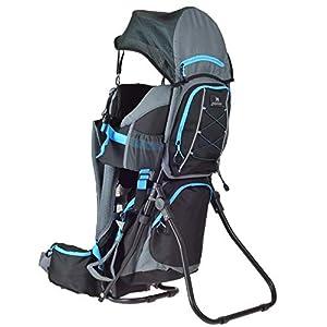 DROMADER Mochila Portabebé para Hacer Turismo Wombat | Peso del Bebé hasta 22 kg | Sistema de Transporte 3D Opti-fit | Espejo Lateral | Protección contra el Sol y la Lluvia | Negro & Azul